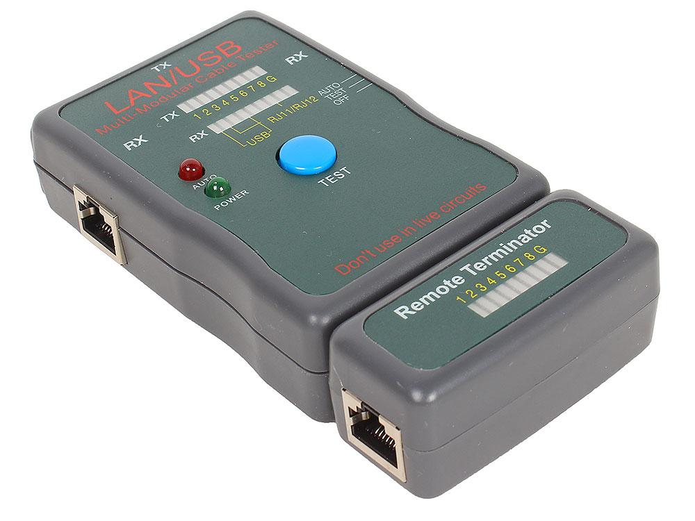 Тестер LAN Cablexpert NCT-2, 100/1000 Base-TX, для UTP, STP, RJ-11, USB-кабеля цена