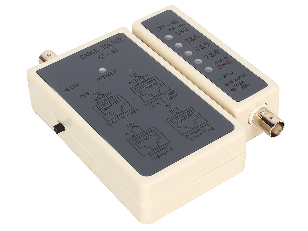 LAN тестер ST-45 (LY-CT001) для BNC, RJ-45 (HL-001) кабельный тестер telecom hl 004