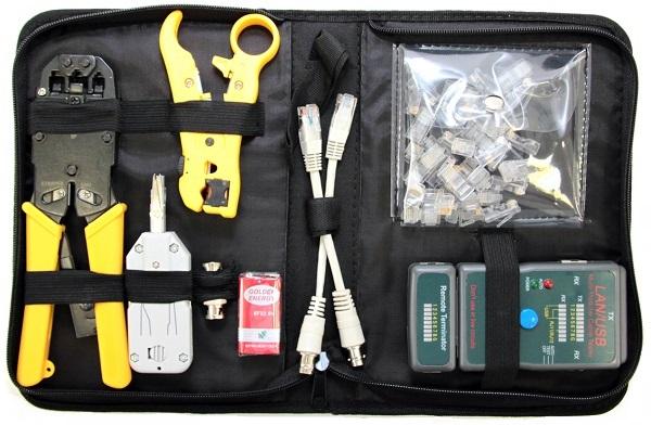 Набор инструментов 5bites TK032 LY-T2008R / LY-T2020B / LY-T352 / LY-CT011 / RJ11+RJ45 PLUGS тестер кабеля 5bites ly ct007 для utp stp rj45 bnc rj11 12