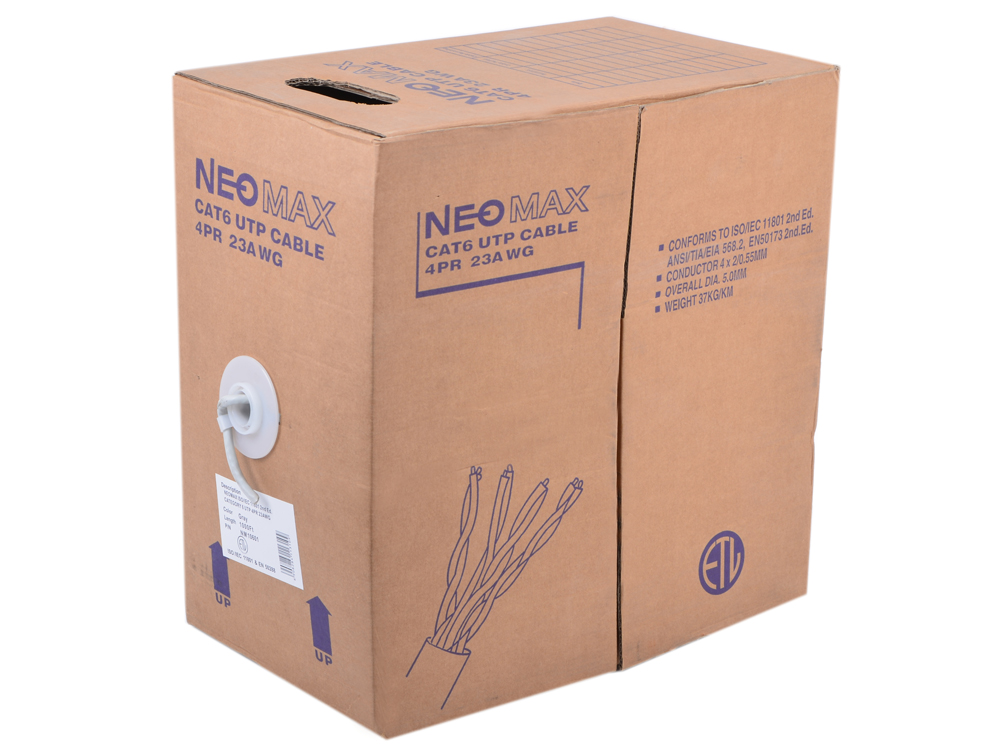 Кабель Neomax NM10601 UTP, 4 пары, Категория 6, 305 м. Медный