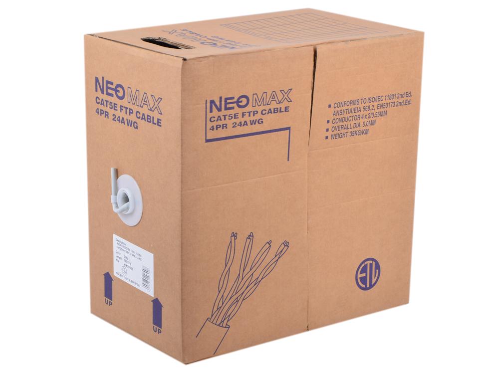 Сетевой кабель бухта 305м FTP 5e Neomax NM20001 Медь, 4 пары(одножильный), 24AWG/0.51мм, 125МГц/100 Ом, PVC, Taiwan сетевой кабель бухта 100м utp 5e telecom ultra tus44148e 4 пары одножильный 24awg 0 51мм