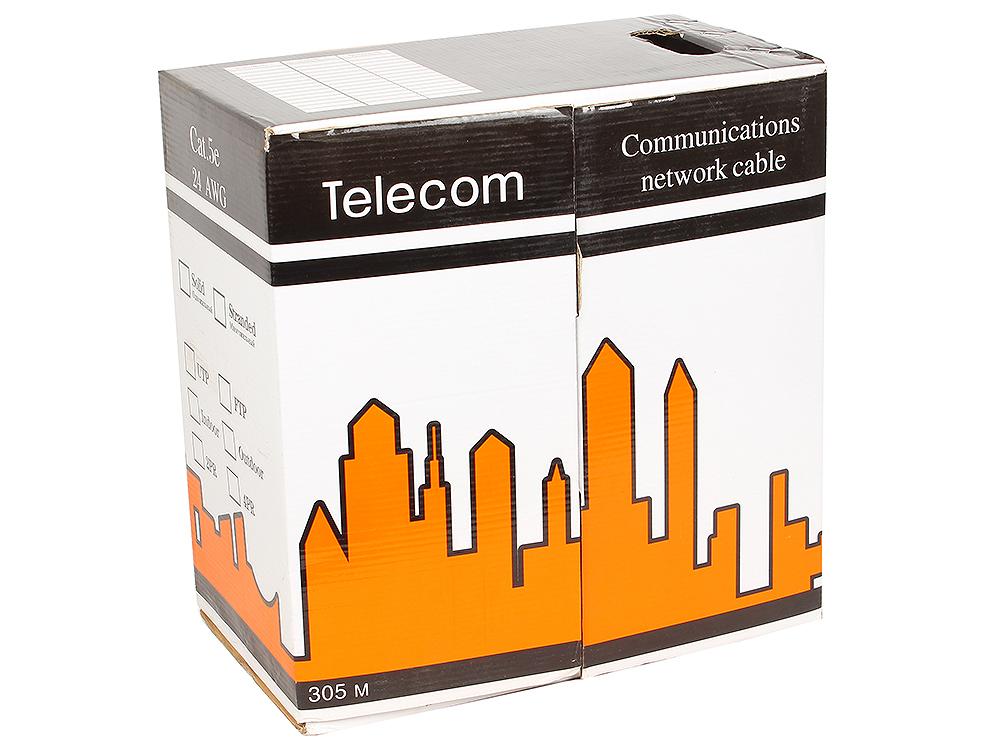 Кабель UTP кат.5е Telecom CCA (бухта 305м) LSZH (огнеупорный, не содержит галогенов) (Омедненный) кабель telecom ultra pro utp кат 6 бухта 305м tu634057 омедненный