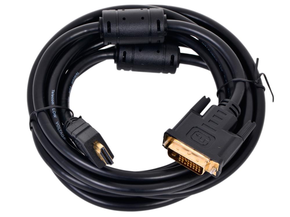 купить Кабель HDMI - DVI-D (19M -19M) Telecom 3м, с позолоченными контактами 2 фильтра по цене 690 рублей