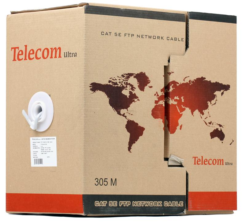 Сетевой кабель бухта 305м FTP 5e Telecom Ultra TFS44050E\44048e 4 пары цена и фото