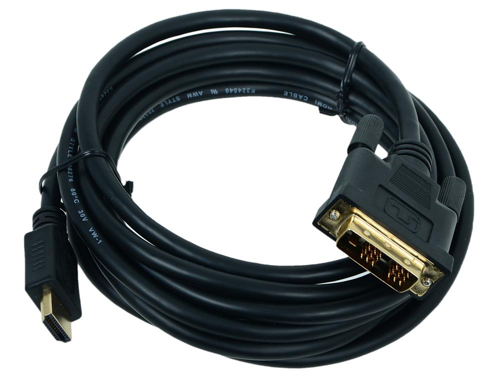 Кабель HDMI - DVI 19M/19M Single Link Gembird CC-HDMI-DVI-10 3.0м, черный, позол.разъемы, экран кабель hdmi gembird cablexpert 3 0м v1 4 19m 19m серия light черный позол разъемы
