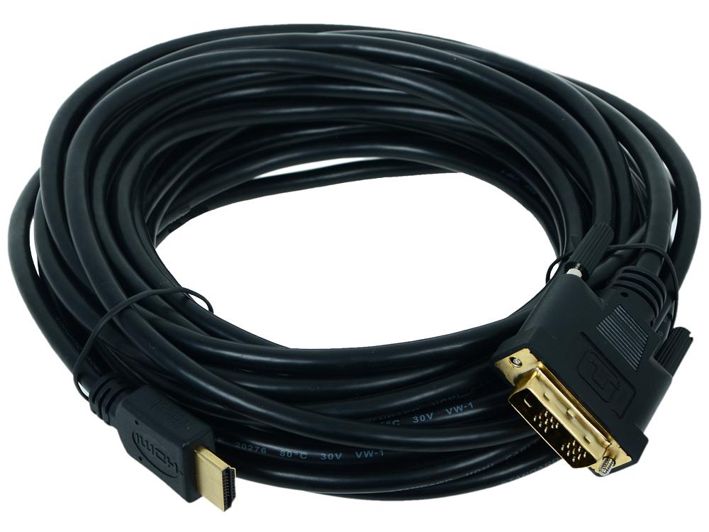 Картинка для Кабель HDMI - DVI 19M/19M Single Link Gembird 10м, черный, позол.разъемы, экран, пакет CC-HDMI-DVI-10MC