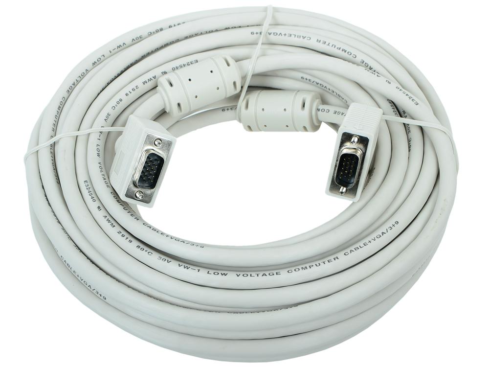 Кабель VGA Premium Gembird, 15м, 15M/15M, тройн.экран, феррит.кольца, пакет CC-PPVGA-15M кабель удлинитель com порта gembird cc 133 6 9m 9f 1 8м