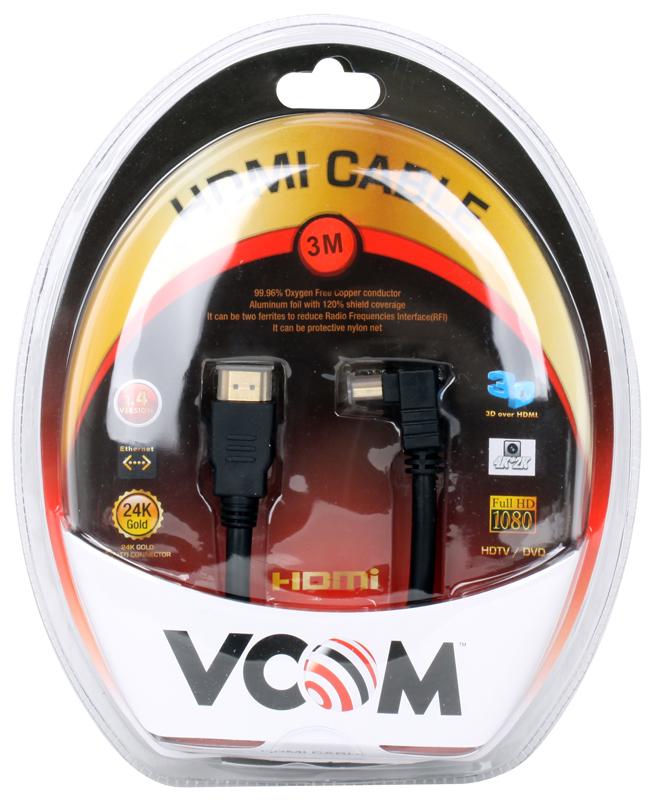 Кабель VCOM HDMI 19M/M-угловой коннектор 3м, 1.4V позолоченные контакты (VHD6260D-3MB) Blister кабель mini displayport hdmi hama h 53220 1 5 м позолоченные контакты белый