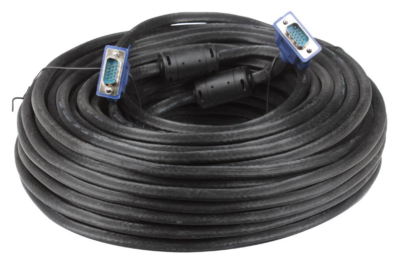 Кабель монитор-SVGA card (15M-15M) 30м 2 фильтра VCOM [VVG6448-30M] кабель удлинительный монитор svga card 15m 15f 1 8m 2 фильтра vcom
