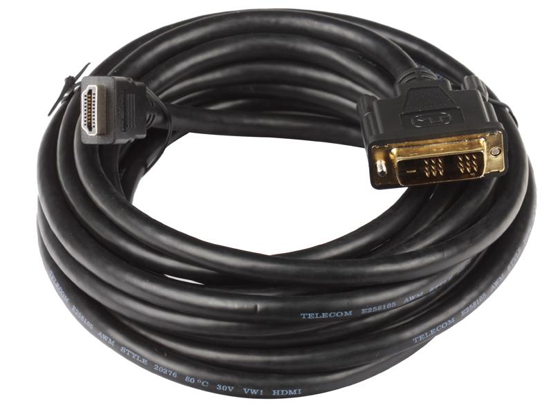 Кабель HDMI - DVI-D 19M/19M 5м Telecom с позолоченными контактами все цены