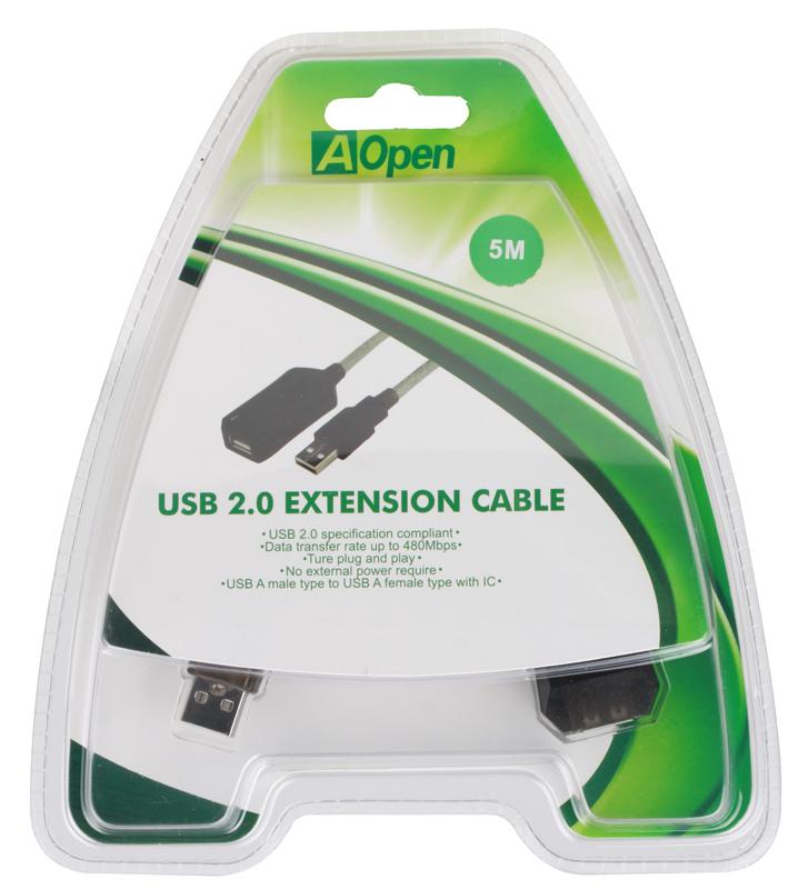 Кабель удлинитель активный(с усилителем) USB2.0-repeater, AM/AF 5м Aopen(ACU823-5M) кабель