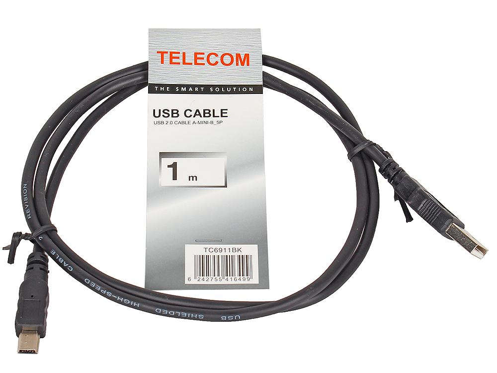 цена на Кабель USB 2.0 AM/miniB 5P Telecom TC6911BK-1.0M 1м, (mini USB), черный