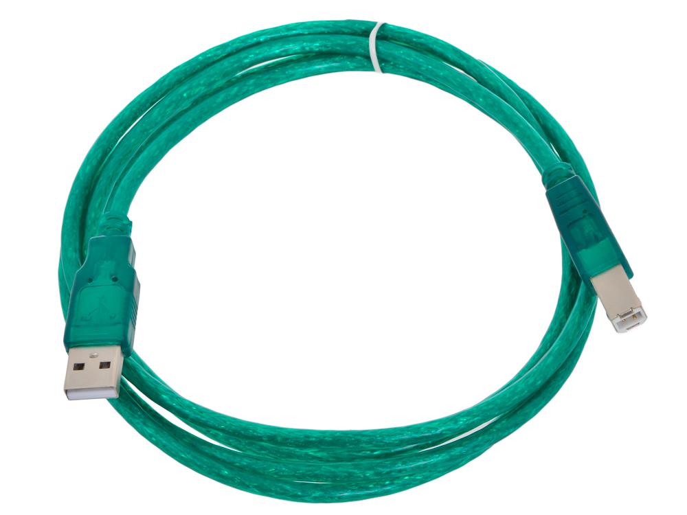 Кабель USB 2.0 AM/BM 1.8m Aopen, соединительный, прозрачная изоляция (ACU201-1.8MTG) кабель oxion usb am bm 1 8м черный