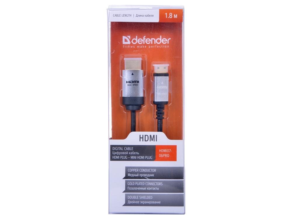 Кабель DEFENDER А/В HDMI07-06PRO (ver. 1.4) HDMI(M)-MiniHDMI(M), 1.8м, BL