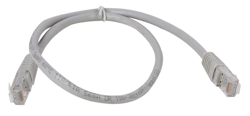 Сетевой кабель 0.5м UTP 5е, литой patch cord серый Aopen [ANP511_0.5M]