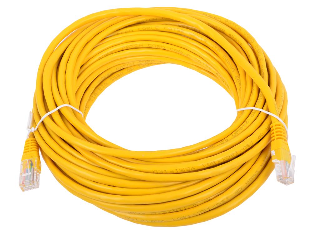 лучшая цена Сетевой кабель 15м UTP 5е, литой patch cord желтый Aopen [ANP511_15M_Y]