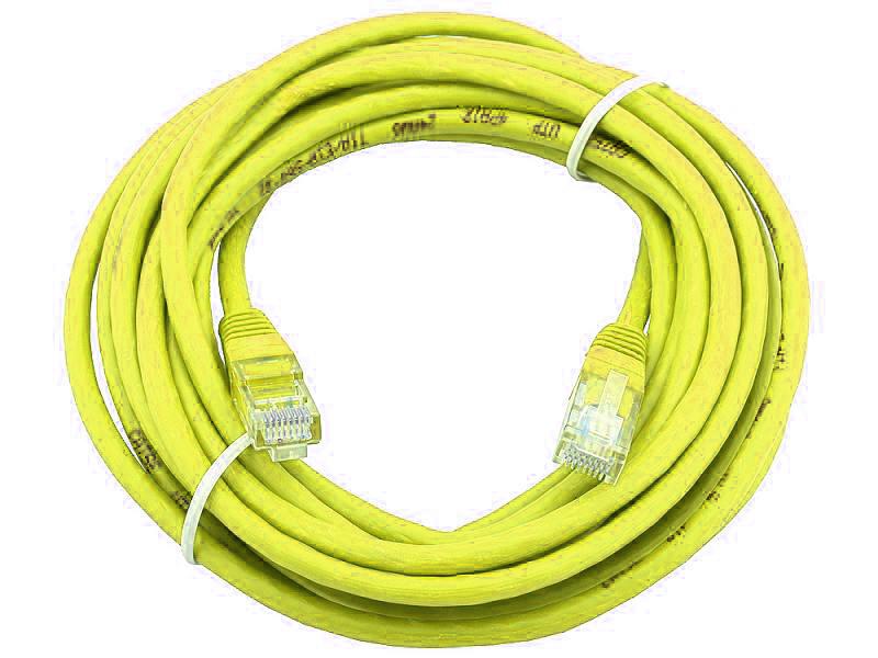 лучшая цена Сетевой кабель 20м UTP 5е, литой patch cord желтый Aopen [ANP511_20M_Y]