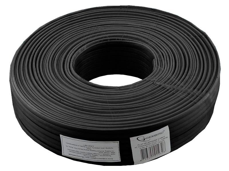 Фото - Кабель телефонный бухта 100м 4жилы TC1000S/bl-100m плоский, черный кабель