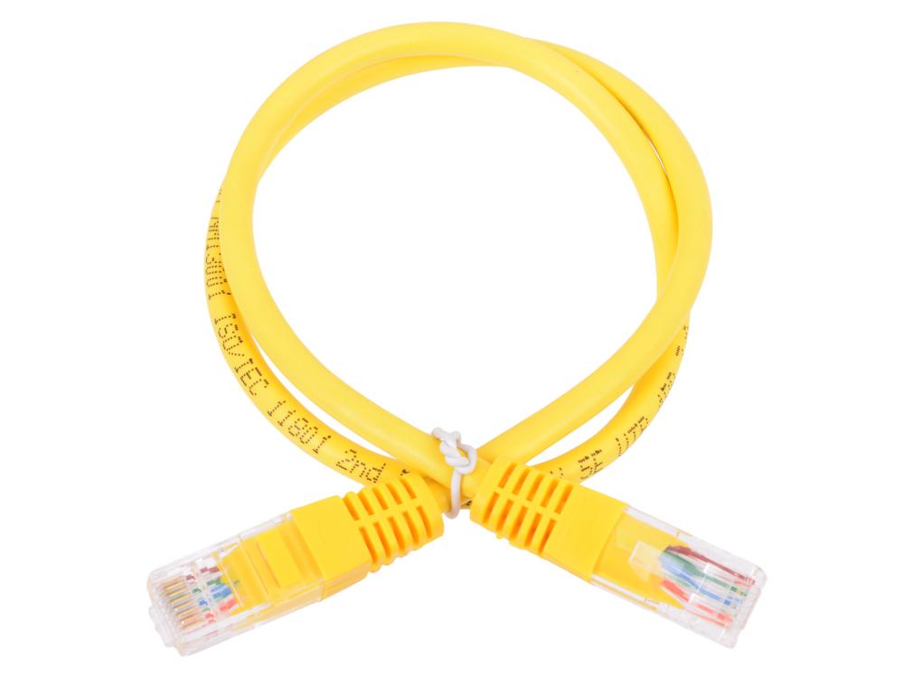 Патч-корд литой Neomax NM13001-005Y UTP 0.5м, кат. 5е - желтый патч корд atcom utp 7 5 m литой rj45 cat 5 синий