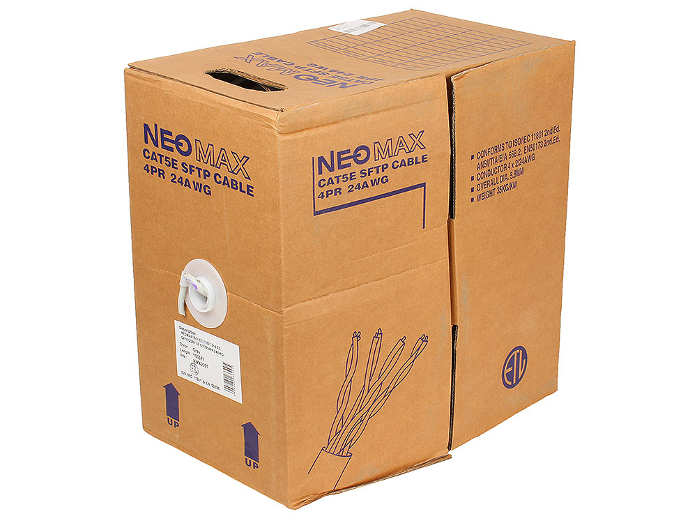 Кабель Neomax NM40001 S/FTP, 4 пары, Категория 5е, 305 м. кабель