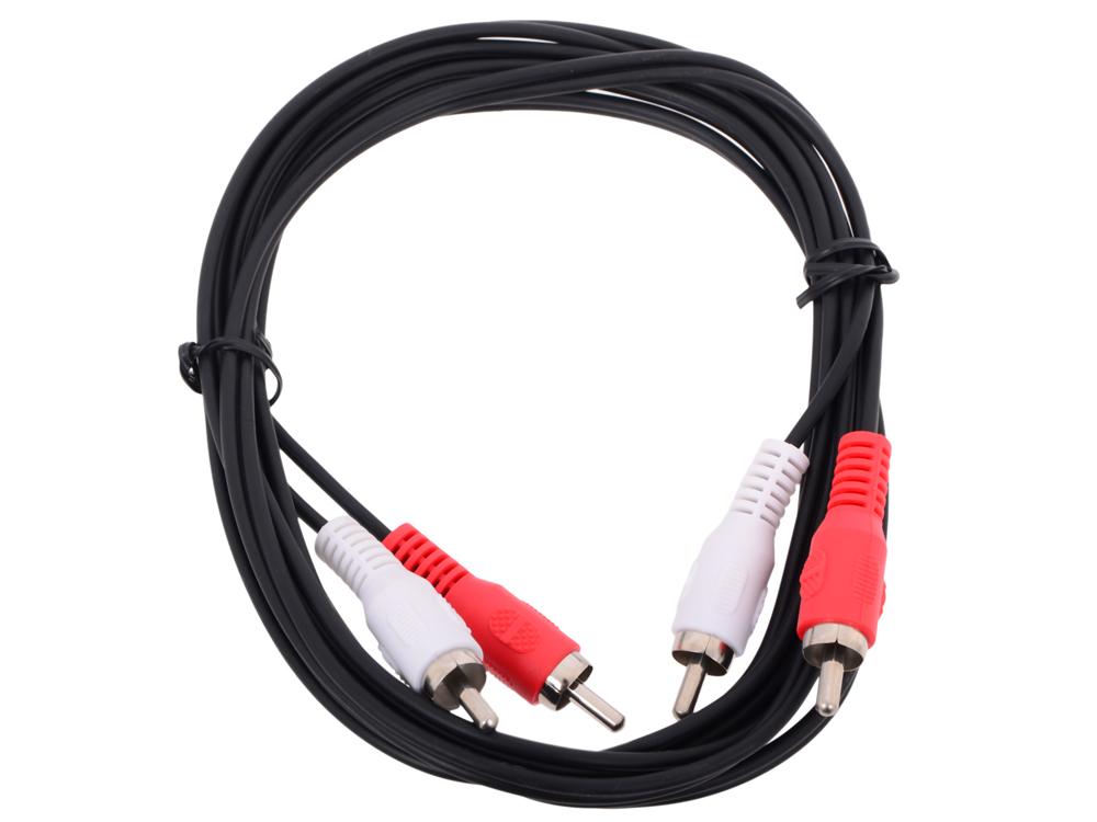 Кабель соединительный 2xRCA (M) - 2xRCA (M) черный 2m, Telecom (TAV7158-2M) tv м tv m 2m telecom ttv9555 2m