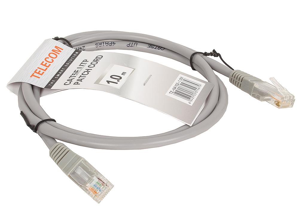 Патч-корд литой Telecom UTP кат.5е 1,0м серый патч корд atcom utp 2 m литой rj45 cat 5 серый
