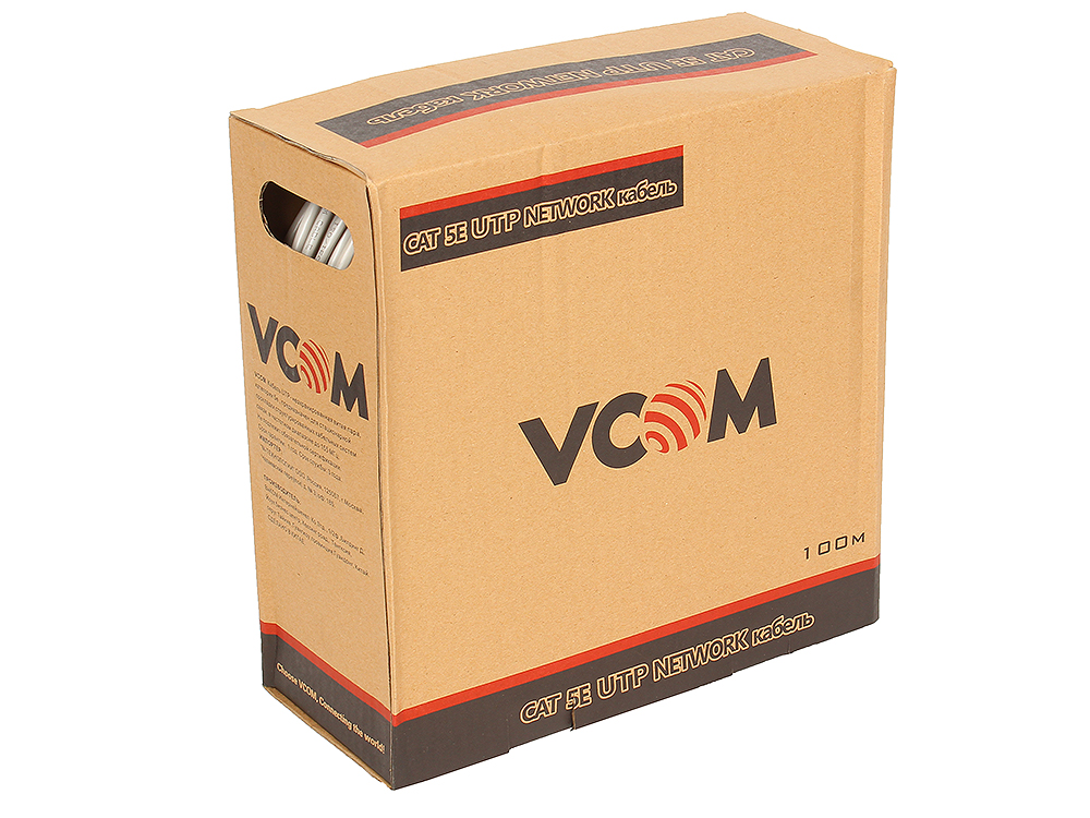Фото - Кабель VCOM UTP 4 пары кат.5е (бухта 100м) p/n: VNC1000 модуль информационный brand rex cat6plus c6cjaku012 keystone rj45 кат 6 черный utp 110 idc