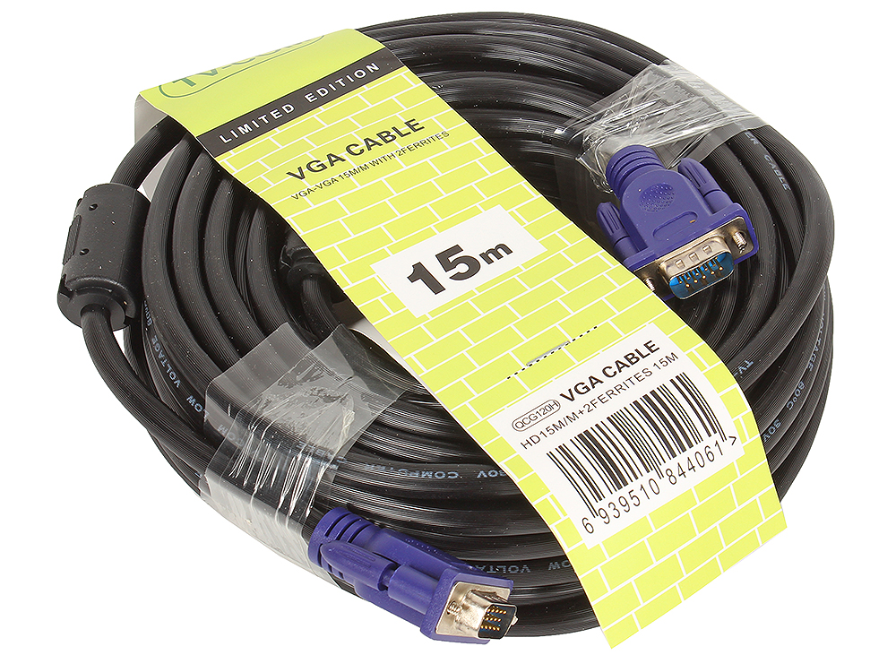 Кабель соединительный SVGA (15M/M) 15m 2 фильтра TV-COM (QCG120H-15M) кабель соединительный svga 15m 15m 3m 2 фильтра tv com qcg341ad 3m