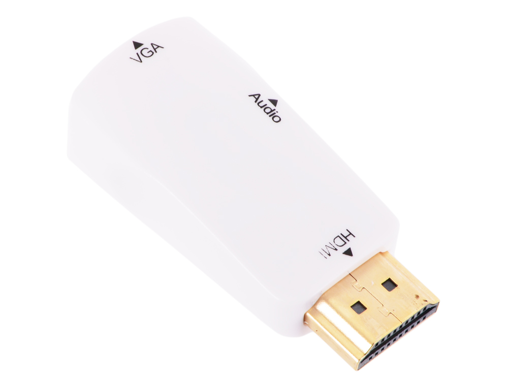 Адаптер HDMI M--VGA 15F+Audio ORIENT C119, для подкл.монитора/проектора к выходу HDMI, белый