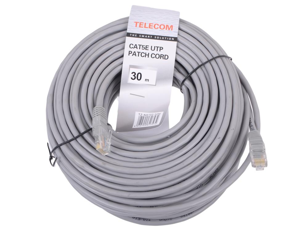 Патчкорд литой Telecom UTP кат.5е 30,0м серый (NA102--30M)