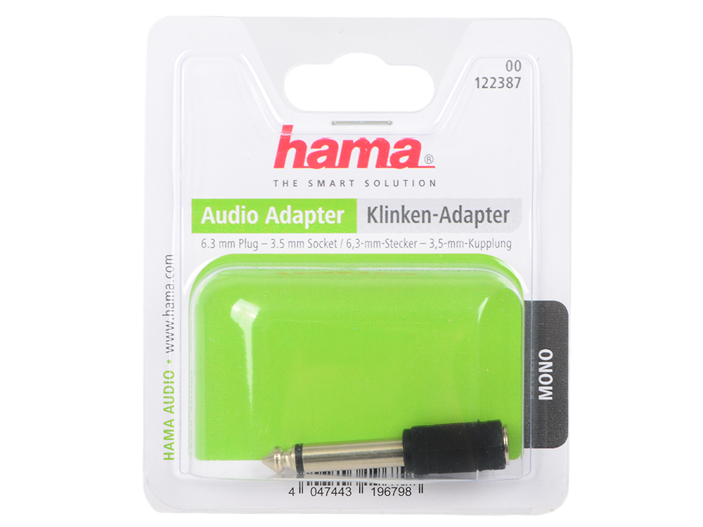 Переходник Hama Jack 6.3(m)-Jack 3.5(f) моно черный 00122387 переходник hama 3 5 jack m 2x3 5 jack f стерео черный h 43353