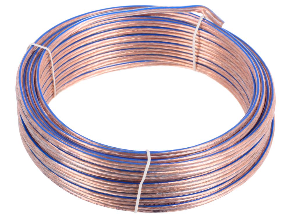 Акустический кабель Cablexpert CC-TC2x1,5-15M, прозрачный, 15 м, бухта кабель акустический speakon onetech pro 25 20 m