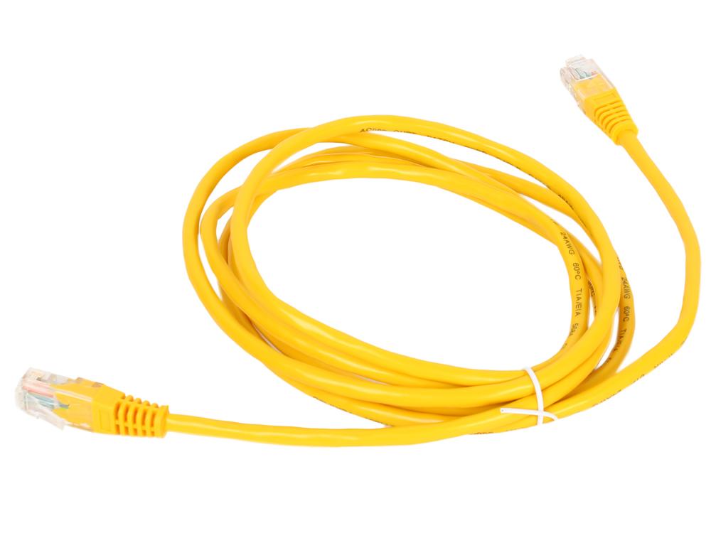 Патч-корд литой Aopen/Qust UTP кат.5е 2м желтый ANP511_2M_Y коннекторы rj 45 8p8c для utp кабеля 5 кат aopen aopen anm005 vcom vna2200 100 шт в пакете