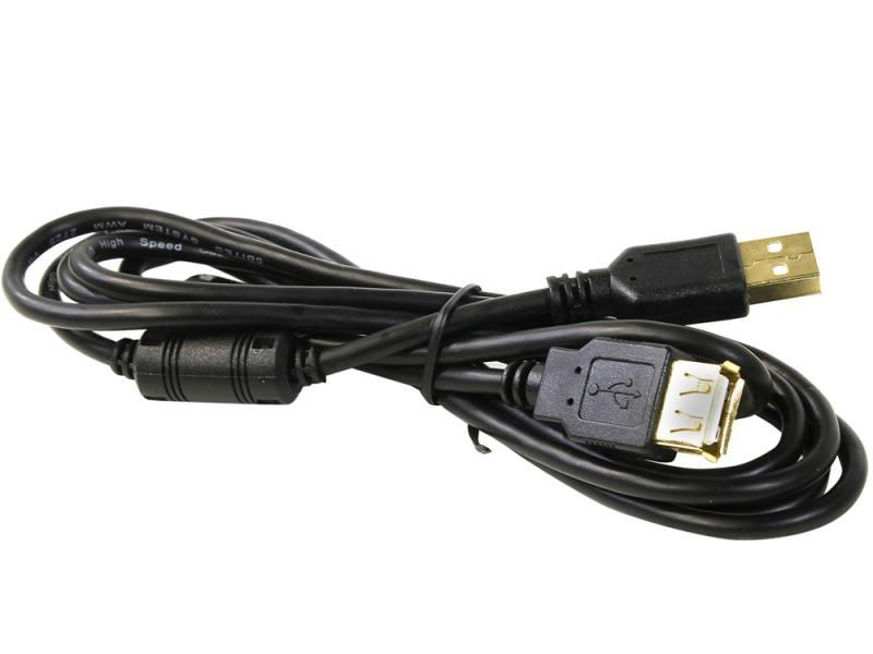Кабель USB 2.0 AM-AF 1.8м 5bites ферритовые кольца черный UC5011-018A кабель usb 2 0 am micro5pin 0 5м 5bites uc5002 005