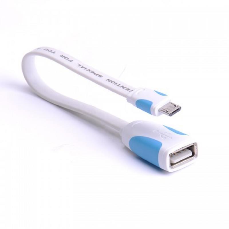 Переходник OTG USB 2.0 A(f)-microUSB B 0.1м Vention VAS-A09-W010 плоский белый