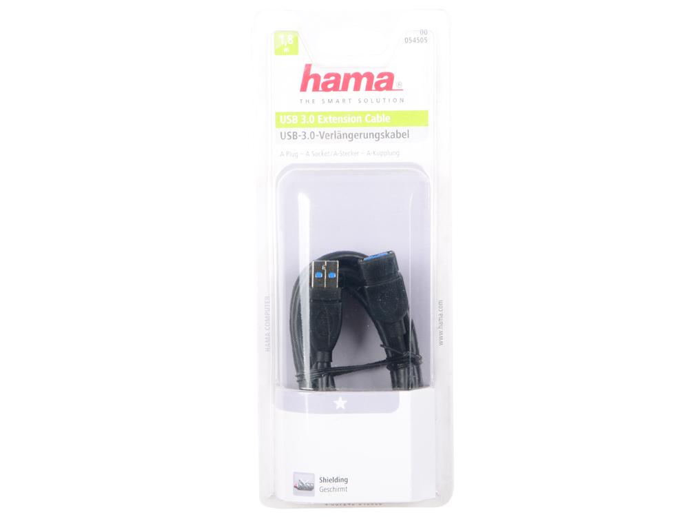 Кабель удлинительный USB 3.0 AM-AF 1.8м Hama H-54505 экранированный черный цены