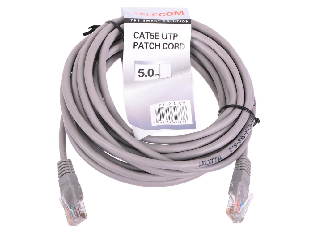 Патч-корд литой Telecom UTP кат.5е 5,0м серый (NA102_GREY_5.0M) патч корд atcom utp 2 m литой rj45 cat 5 серый