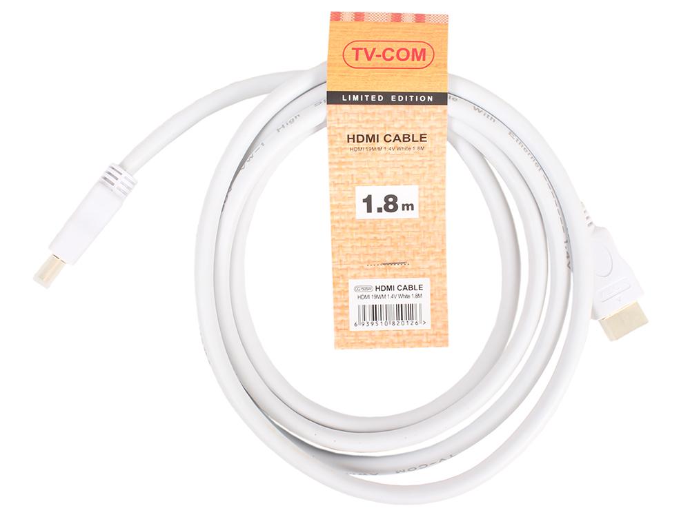 Кабель цифровой HDMI19M to HDMI19M, V1.4+3D, 1,8m, белый, TV-COM CG150SW-1.8M кабель цифровой tv com hdmi19m to hdmi19m v1 4 3d 15m cg150s 15m