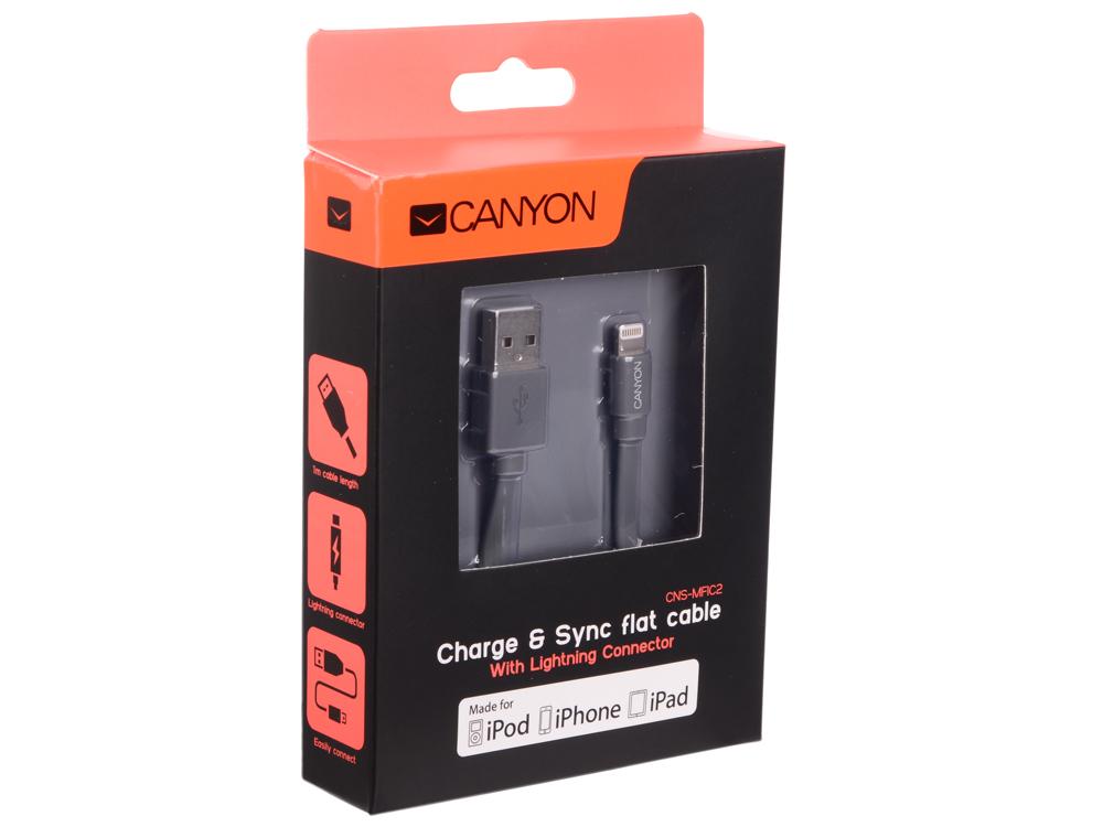 Кабель Apple Lightning/USB 1.0м Canyon CNS-MFIC2DG плоский силиконовая оплетка серый (MFI)