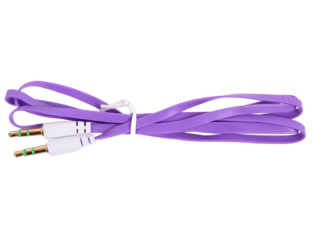 Кабель Belsis Jack 3.5 mm - Jack 3.5 mm, вилка - вилка, стерео, 0,75 м, фиолетовый плоский BL1103 цена и фото