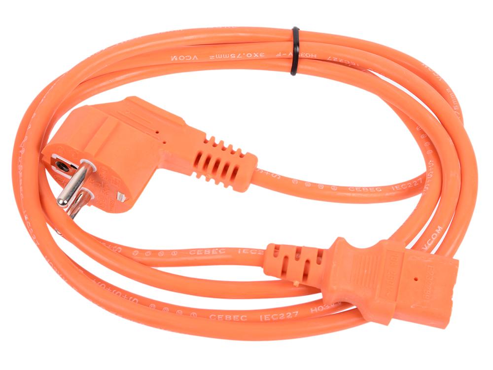 Кабель компьютер-розетка 220V (EURO) (VDE) 1,8м 3G0,75mm2 VCOM {CE021-O}, оранжевый компьютер