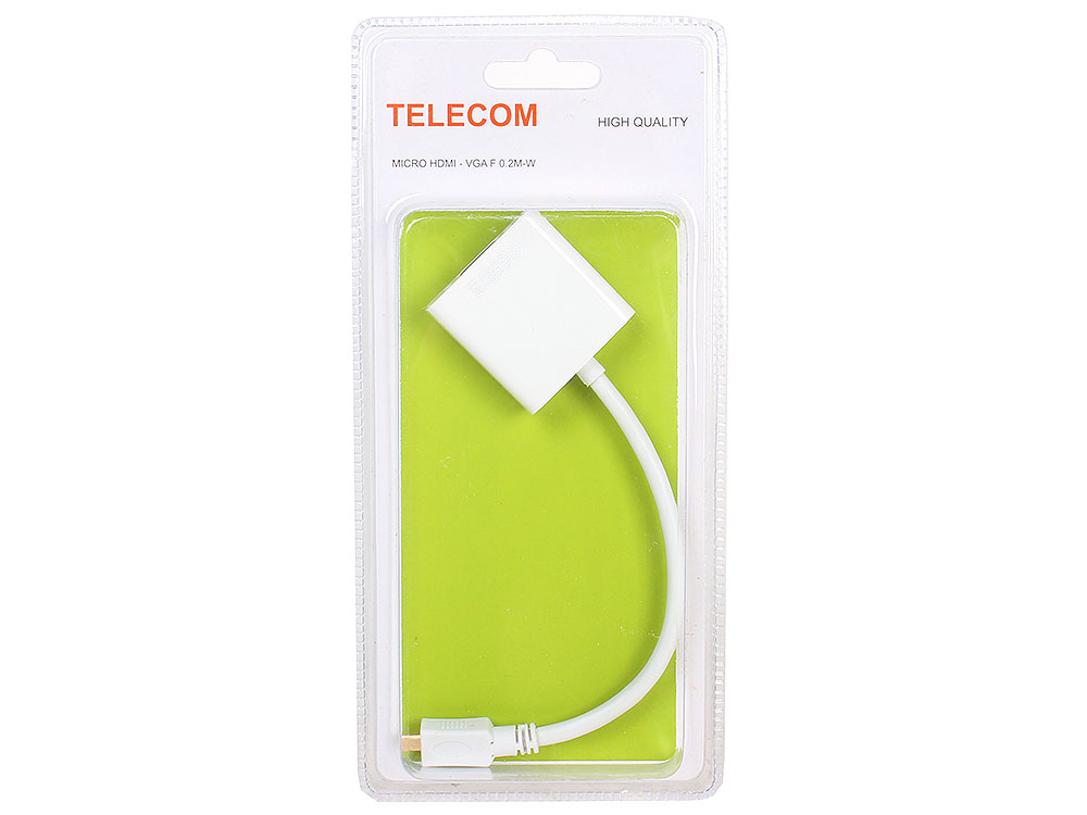 Кабель-переходник Micro HDMI M=)VGA F 0.2m, белый, Telecom (TA593) переходник аудио 6 3мм m штекер 3 5мм f гнездо telecom ta1950