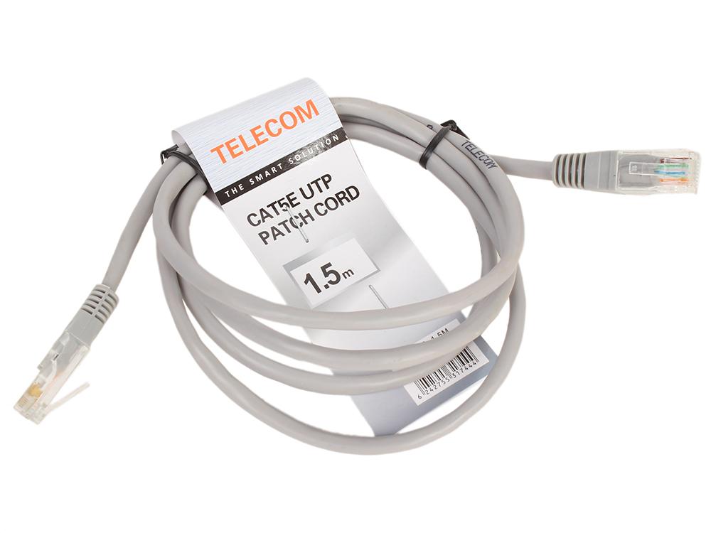 Патч-корд литой Telecom UTP кат.5е 1,5м серый (NA102_GREY_1.5M) патч корд atcom utp 2 m литой rj45 cat 5 серый