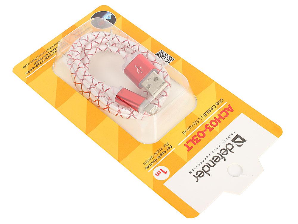USB кабель ACH03-03LT красный, LED, USB-Lightning 1м кабель