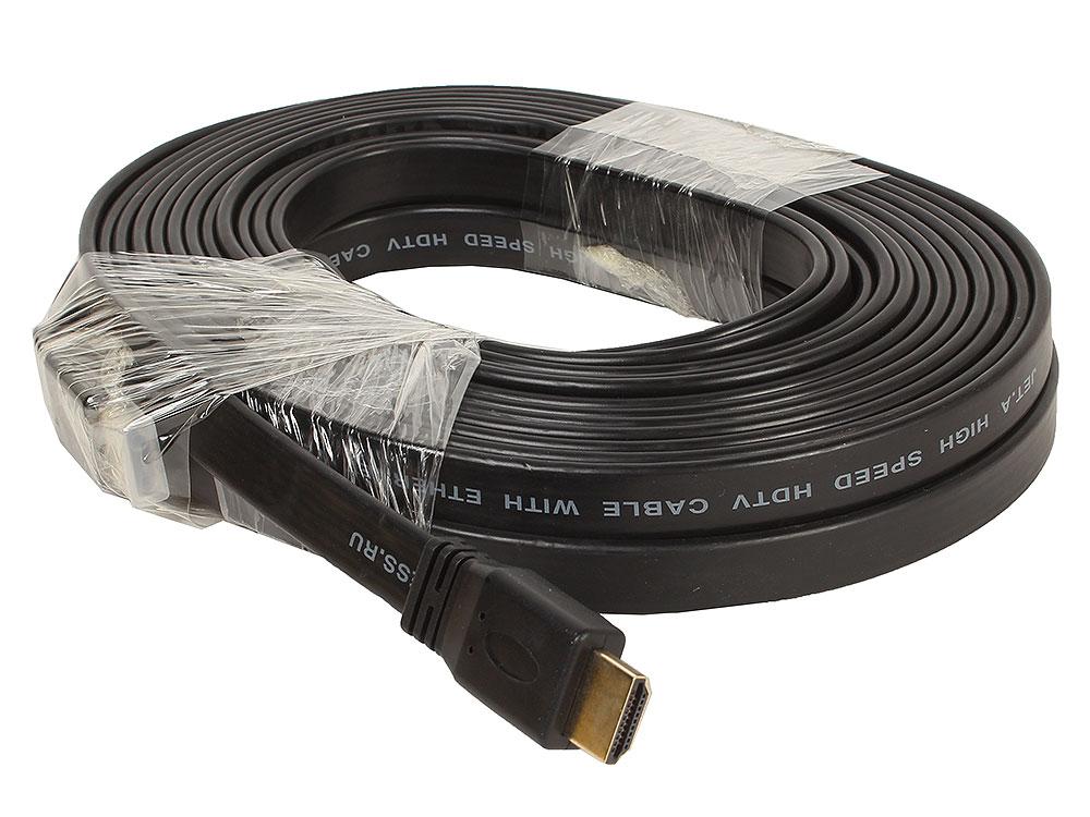 Цифровой кабель HDMI-HDMI c плоским поперечным сечением провода JA-HD10 10 м (версия 2.0 с поддержкой 3D, Ultra HD 4К/Ethernet, 19 pin, 28 AWG, CCS, к hdmi hd hdmi av hdmi cvbs cvbs ntsc pal line 018