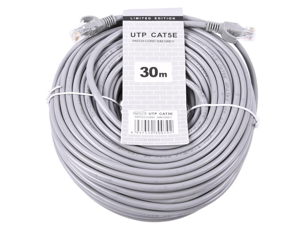 Патч-корд литой TV-COM NP511-30M многожильный UTP кат.5е 30м серый патч корд atcom utp 2 m литой rj45 cat 5 серый