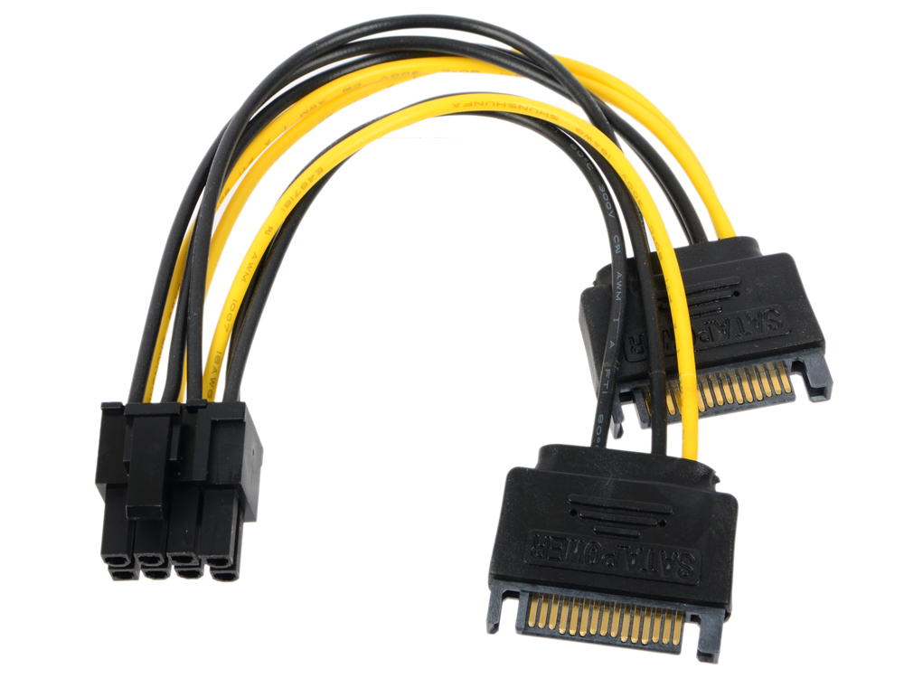 Переходник питания для PCI-Ex видеокарт 2 x SATA 15pin (M) - 8pin ORIENT C588 переходник питания для pci ex видеокарт 2 x sata 15pin m 6pin orient c513