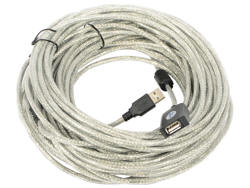 Фото - Кабель-удлинительный USB2.0 VCOM VUS7049-25M 25м кабель компьютер розетка 220v euro vde 1 8м 3g0 75mm2 vcom ce021 o оранжевый