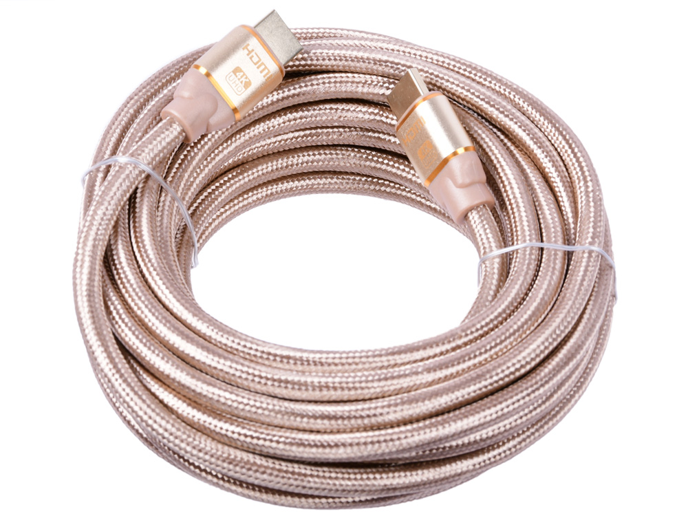 Фото - Кабель HDMI Cablexpert, серия Gold, 7,5 м, v1.4, M/M, золотой, позол.разъемы, алюминиевый корпус, нейлоновая оплетка, коробка CC-G-HDMI03-7.5M кабель