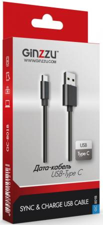 Кабель Type-C 1м GINZZU GC-801B круглый черный кабель ginzzu gc 409b дата кабель microusb tpe 1 0 м черный
